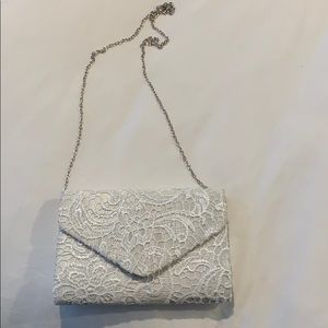 Handbags - White lace clutch with chain
